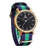 (Wooden Watch)ウッドウォッチ 2016新しい木製腕時計 ダブルストライプ ナイロンバンド アナログ表示 天然木 手作り 人気プレゼント ..