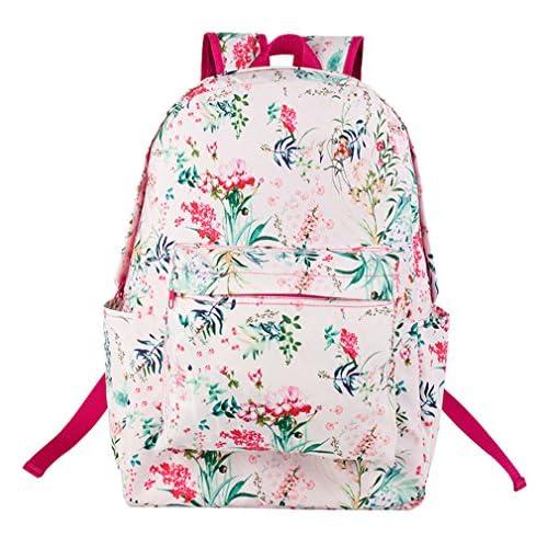 (ピーキー)Peigee 可愛い 花柄 リュック リュックサック バックパック デイパック アウトドア 女の子 通学 遠足 小学生 中学生 大容量 (グリーン)