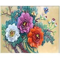 Mrlwy カスタマイズされた大きな壁紙3D新しい中国のエンボス牡丹の花が咲く壁画リビングルームテレビの背景の壁紙-350X250CM