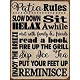 Patio Rules Metal Sign, Motivational Rules to Live by, Positive Thinking, Modern Decor