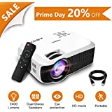 ABOX T22 2400 Lumens LCD Video Projector, GooBang Doo Multimedia Home Theater Video Projector Support 1080p HDMI USB SD Card VGA AV for Home Cinema TV - White
