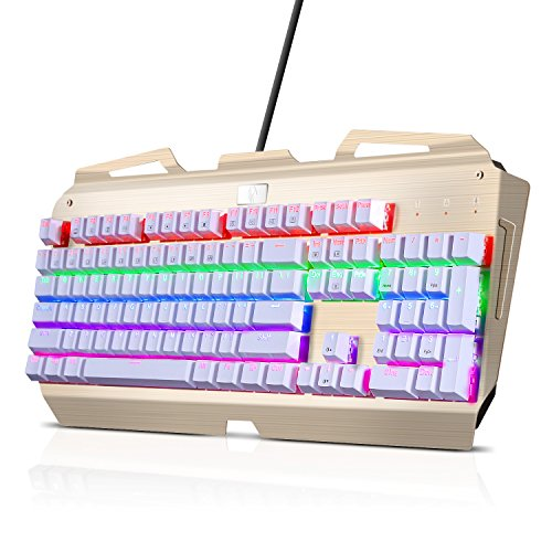 KINGTOP メカニカルゲーミングキーボードX-7000 青軸採用 英語104個キー付き 9色LEDバッグライト付き 複数同時押し対応 防水• 防塵機能付き 日本語取扱書付き 12ヶ月保証 (ホワイト+ゴールド)