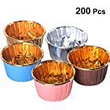 UPKOCH Paper Baking Cups Heatresistant Muffin Cup Cupcake Liners Wrappers Mini Cake Holder for Kitchen Baking Supplies 200pcs (Random Color)
