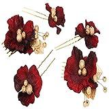DAZONE(ダゾネ) 髪飾り 花 実用な5点セット 結婚式/成人式 着物にもウェディングドレスにもぴったり (レッド)