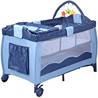 New Blue Baby Crib Playpen Playard Pack Travel Infant Bassinet Bed Foldable by Aor Hybeauty