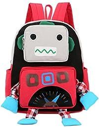 幼児のための幼児のバックパックのキャンバスバッグ、女の子のためのベビーボーイズの袋、幼児のための漫画のキャンバスのバックパック、ロボット型のバッグ