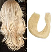 Tape in Hair Extensions Blonde Human Hair 22/60g Seamless Skin Weft Straight Remy Tape Hair Extensions 20 Pcs/Package(#613) [並行輸入品]