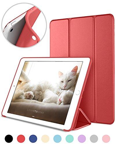 DTTO iPad Mini 1/2/3 ケース 超薄型 超軽量 TPU ソフト PUレザー スマートカバー 三つ折り スタンド スマートキーボード対応 キズ防止 指紋防止 [オート スリープ/スリー プ解除] アップルレッド