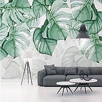 Generic カスタム写真壁紙3Dハンドペインティングキャンバス油絵熱帯植物緑の葉リビングルームの寝室の家の装飾壁画-400X280Cm