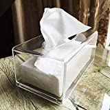Facial Tissue Dispenser Box Cover Holder Clear Rectangle Napkin Organizer for