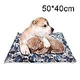 Aoonux ペット クールマット ひんやり マット 冷えひえ 犬猫 夏 ソフトクールマット 熱中症・暑さ対策 ひんやりベット 接触冷感 犬 ベット 人間ペット両用 迷彩 50*40cm