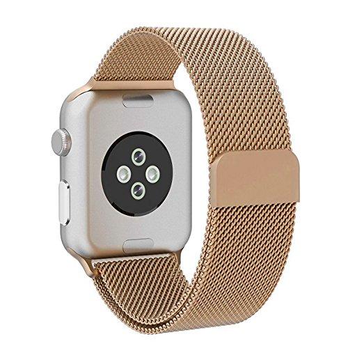 Grotech apple watch バンド 40mm アップルウォッチバンド ミラネーゼループ アップルウォッチ3 ステンレス留め金 apple watch series 4/3/2/1に対応 38mm (ゴールド)