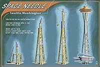 シアトル–スペースニードルConstructionタイムライン 16 x 24 Giclee Print LANT-36537-16x24
