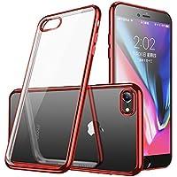 iphone7/iphone8 ケース 透明 TPU 防塵 指紋防止 ソフト クリア メッキ加工 耐衝撃 Qi 充電 対応 最軽量 超薄型 一体型 人気 ケース レッド
