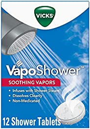 Vicks VapoShower, Shower Bomb Tablets, Soothing Vicks Vapors Steam Aromatherapy with Eucalyptus and Menthol, N