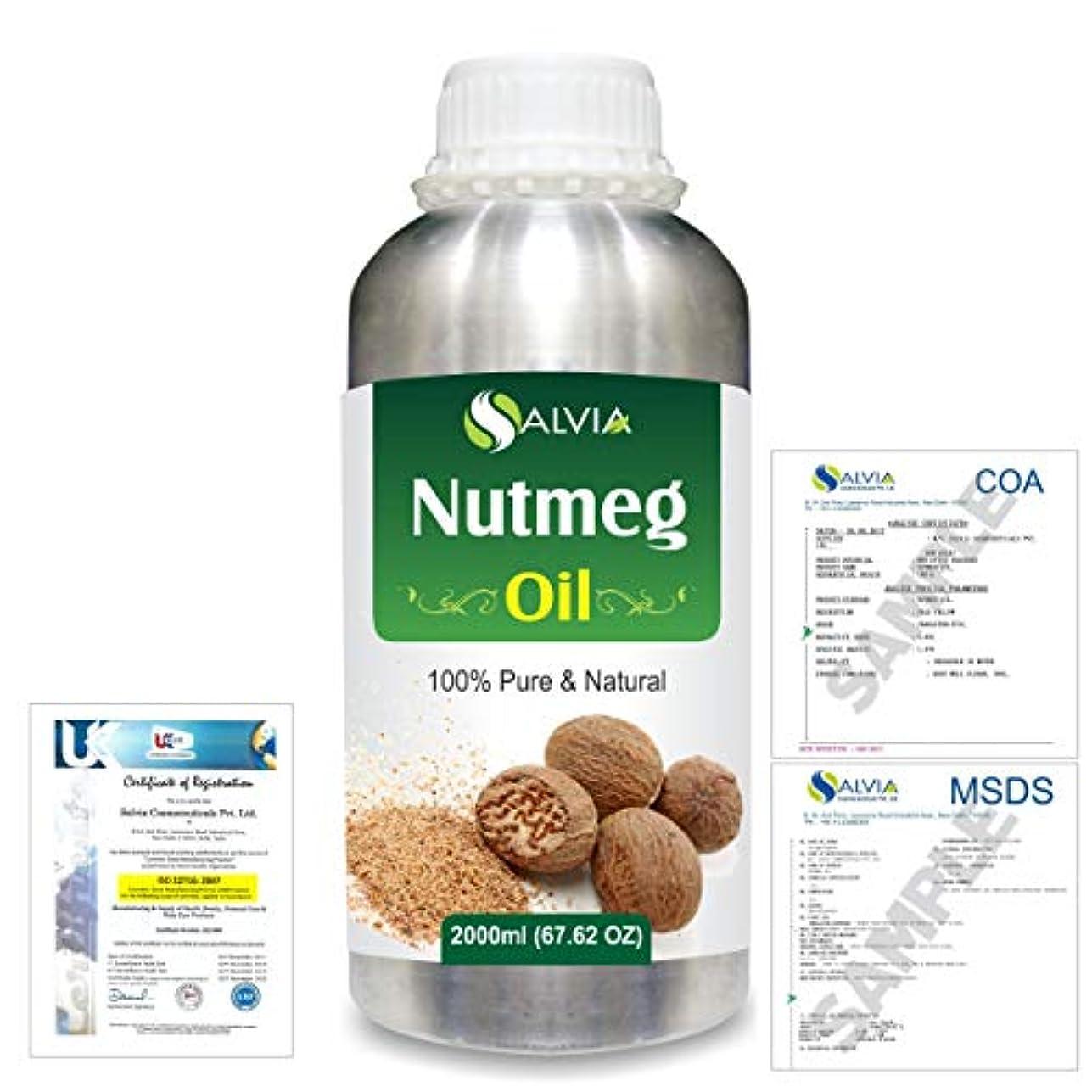 主に人気のストローNutmeg (Myristica fragrans) 100% Natural Pure Essential Oil 2000ml/67 fl.oz.