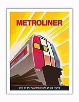 メトロライナーサービス(ワシントン - ニューヨーク) - 世界最速の列車 - ビンテージな鉄道旅行のポスター によって作成された デイヴィッド・クライン c.1973 - アートポスター - 51cm x 66cm