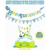 Blue Happy Birthday Banner Dinosaur Banner- Animals Zoo Dinosaur Bunting Banner Cake Topper Garland - Handmade Banner Decor Dino Theme Birthday Party Supplies- for Kids Birthday Party Cake Decor [並行輸入品]