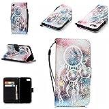 NEXCURIO iPhone7 ケース / iPhone8 ケース 手帳型 PU レザーケース 耐衝撃 カード収納 スタンド機能 マグネット式 アップルアイフォン7 ルアイフォン8ケース 携帯カバー おしゃれ - 白い風鈴