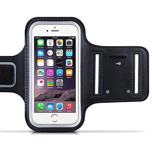 Qtopスポーツアームバンドケース キーホルダー付きiPhone 6/6S用 超軽量超薄【防汗/調節可能】オーキング・ジョギング・ランニング アームバンドXperia iPhone 5/5C/5S/SEなどにも対応 ブラック