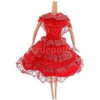 レッドドット柄ロカビリードレスClothes Outfit for人形パーティーDressing