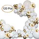 """Balloon Arch Kit - 120 PCS 16Ft Latex Balloon Garland Kit with 18"""" 12"""" 10"""" Gold and Whtie Balloons Confetti Balloons and Metallic Balloons for Parties Baby Shower Birthday Bachelorette Party Backdrop Background Decoration"""
