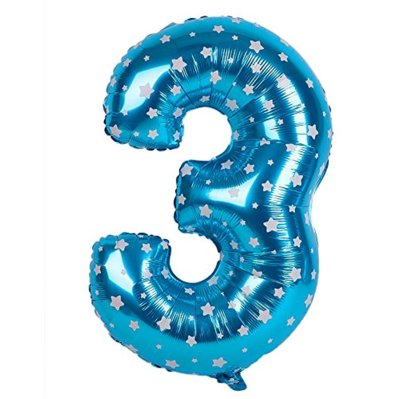 BigFamily 青 40インチ ナンバーバルーン アルミフィルム お祝いパーティーカーニバル ウェディングブライダル