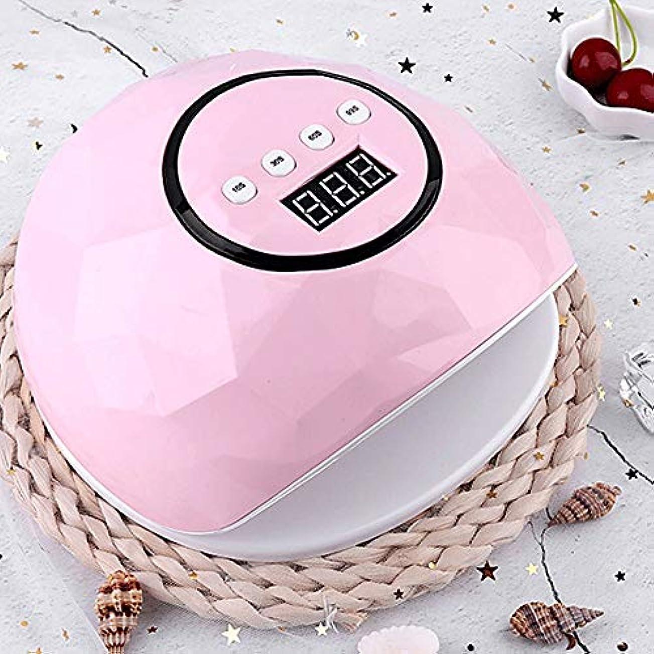 つらい率直な湿気の多いZXCVB ネイルランプ110W UV LEDネイルドライヤー、ジェルネイルランプを4タイマー設定、自動センサー、液晶ディスプレイ、メモリ、および爪&足の爪、ピンクのタイマー機能を一時停止、白 (Color : Pink)