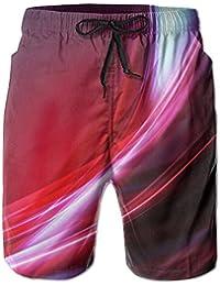 メンズ ビーチショーツ ショートパンツ カラフル波プリント 水着 スイムショーツ サーフトランクス インナーメッシュ付き 通気 速乾