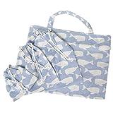 (リッチェ) Ricce 入園入学グッズ 4点セット レッスンバッグ 体操服袋 シューズ袋 コップ袋 (水色クジラ)