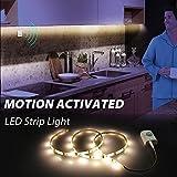 クローゼット照明モーションセンサー付き、Motion Activated LEDストリップライトキットforキャビネットクローゼット、キッチンカウンター、バスルーム、ベッド下、洗濯、ワードローブ[充電式1100mAhバッテリ、39インチ]