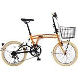DOPPELGANGER(ドッペルギャンガー) 折りたたみ自転車 m6シリーズ m6-ORANGE 20インチ パラレルツインチューブフレーム採用モデル かご・泥除け付き