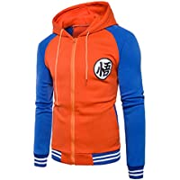 CHENMA Men Dragon Ball Goku Long Sleeve Full-Zip Bomber Jacket Hooded Varsity Jacket