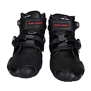 PRO SPEED レーシングブーツ/バイク用ブーツ/ショートブーツ 強化防衛性 ★ ブラック 42(約26-26.5cm)