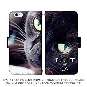 iPhone7 Plus 手帳型 ケース [デザイン:6.黒猫の瞳] 猫 アイフォン スマホ カバー