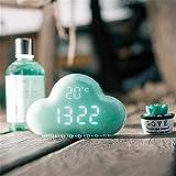 目覚まし時計 アラームクロック USB充電 アラーム置き時計 壁掛け時計 カレンダー 温度表示 音声感知 おしゃれ スヌーズ機能付 かわいい 雲型 LED