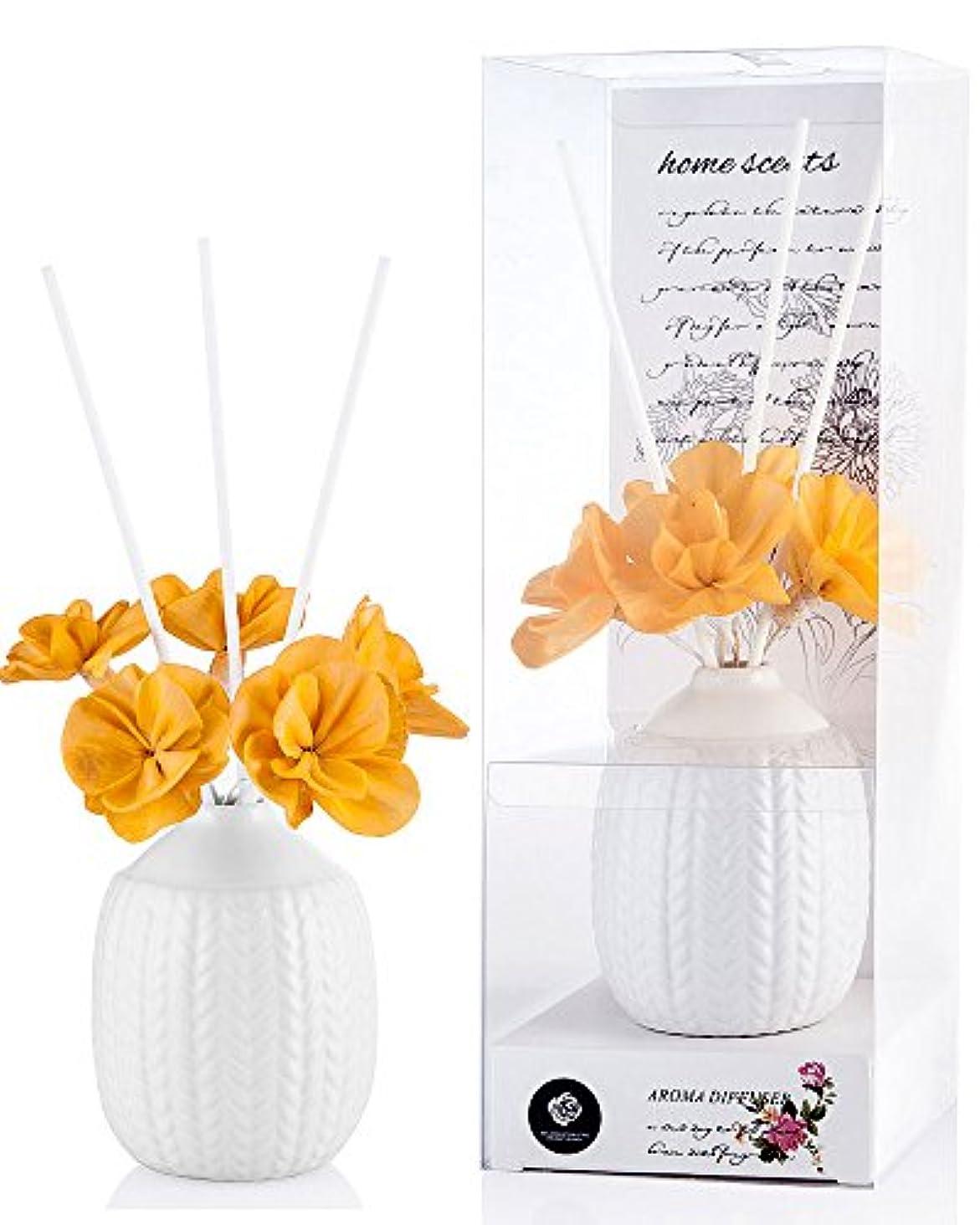 高速道路ジョージハンブリースラックパステルカラー ルームフレグランス /芳香剤 アロマ スティック リードディフューザー (花:黄色、香り:レモングラス)