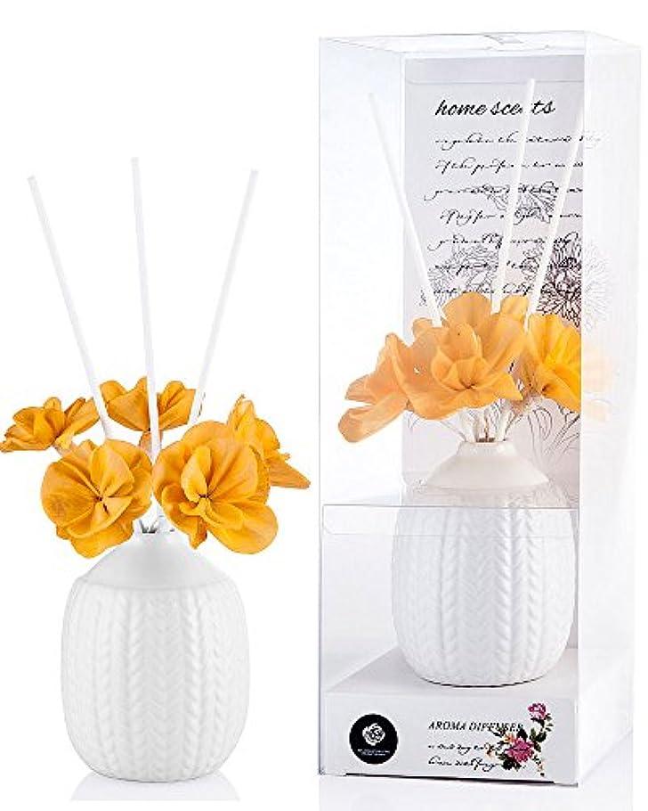 緊急軍団静けさパステルカラー ルームフレグランス /芳香剤 アロマ スティック リードディフューザー (花:黄色、香り:きんもくせい)
