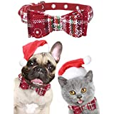 Luckshow Christmas Dog and Cat Bow Tie - Comfortable Breathable - Christmas Snowflake Pattern - Adjustable Size - Size-M