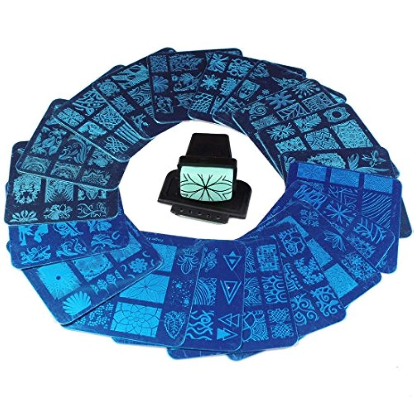乱れ窓馬鹿FingerAngel ネイルイメージプレートセット ネイルプレート 正方形20枚 付き ネイルサロンも自宅も使えるネイルプレート