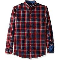 IZOD Men's Big and Tall Tartan Plaid Non Iron Long Sleeve Shirt