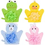 Hand Puppet Bath Wash Mitt Towel with Animal Designs for Children bath toy by Made Easy Kit