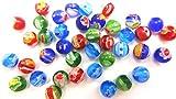 【HARU雑貨】ミルフィオリ 6mm 20個セット アソート/赤 緑 青 水色/ガラスビーズ とんぼ玉 ヨーヨー 画像