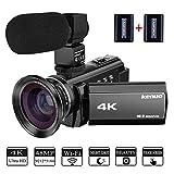 Kenuo ビデオカメラ 4k デジタルビデオカメラ 48MP WIFI機能 3インチタッチパネル バッテリー*2 日本語説明書&1年間の保証付き (本体+広角レンズ+マイク)