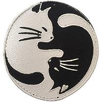 全面刺繍 ベルクロワッペン 霊幻道士 太極図 猫 A0025