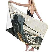 おしおくりはとうつうせんのづ 海 バスタオル 大判 吸水速乾 マイクロファイバー 家庭用 ふわふわ 柔らか肌触り (130 X 80cm)
