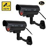 YESKAMO ダミー 防犯カメラ 2セット 本物とそっくり フェイク 監視カメラ 赤LED常時点滅 屋内外両用 防水 セキュリティー ステッカー2枚付き 不審者を追い出す ブラック