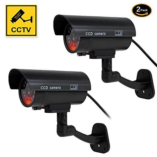 YESKAMO ダミーカメラ ダミー 防犯カメラ 2セット 本物とそっくり フェイクカメラ 監視カメラ 赤LED常時点滅 防水 セキュリティー ステッカー2枚付き 不審者追い出し 防犯用ダミーカメラ ブラック