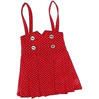 ノーブランド品 レッド  点  サスペンダー  ドレス  スカート 服装  1/3 1/4スケール BJD SDドール用 服 - 1/4人形用
