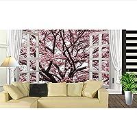 Ljjlm カスタマイズされたサイズロマンチック窓の外3D立体的な桜の壁画寝室のリビングルームのソファの背景の壁紙浮世絵-160X120CM